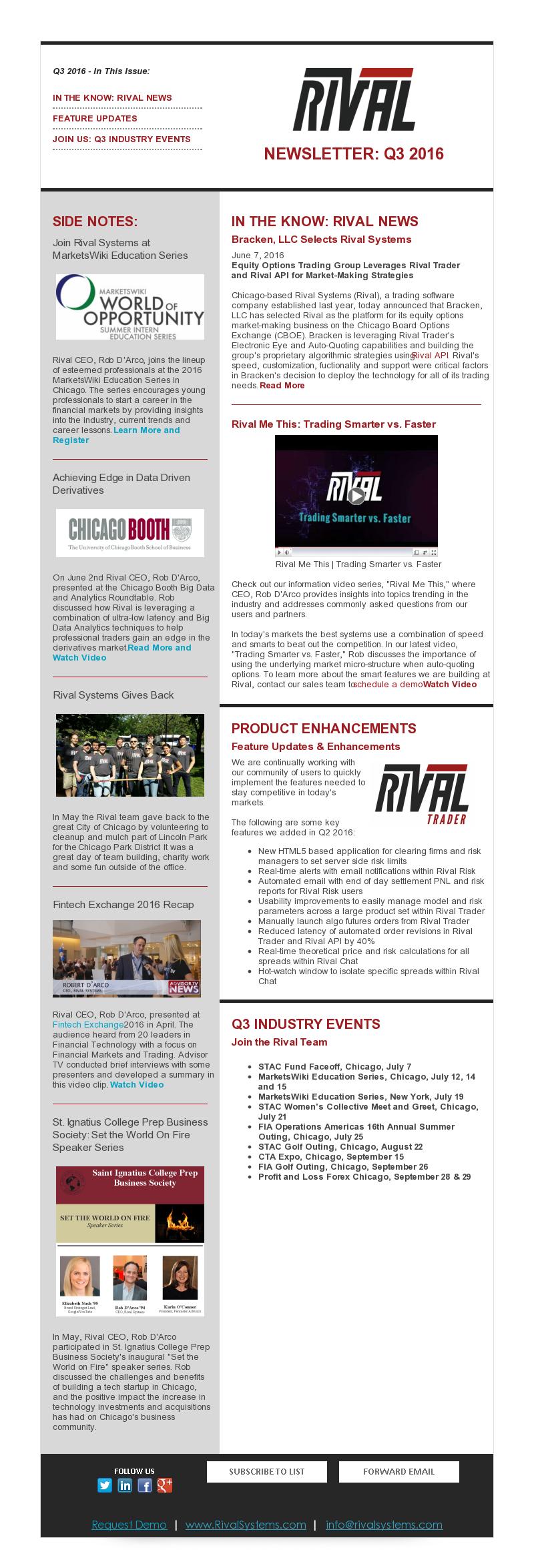 Rival Newsletter Q3 2016