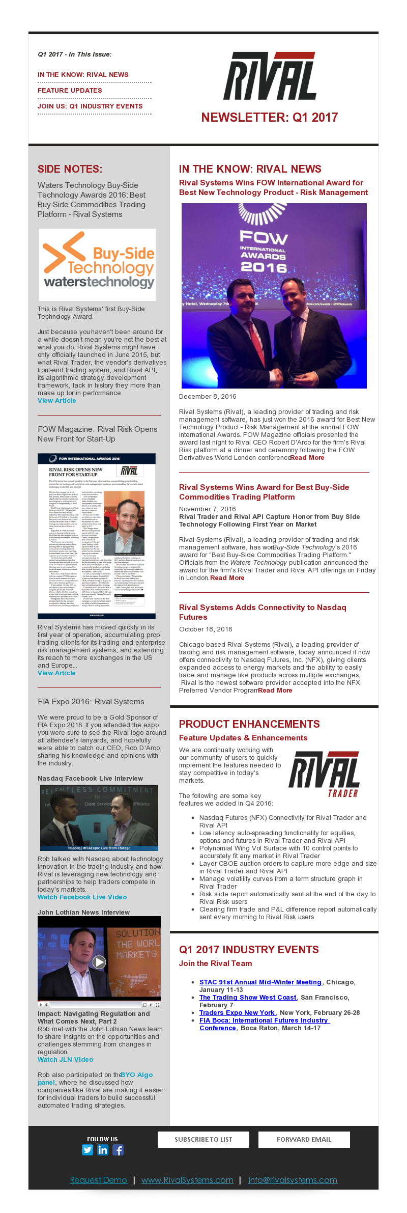 Rival Systems 2017 Q1 Newsletter
