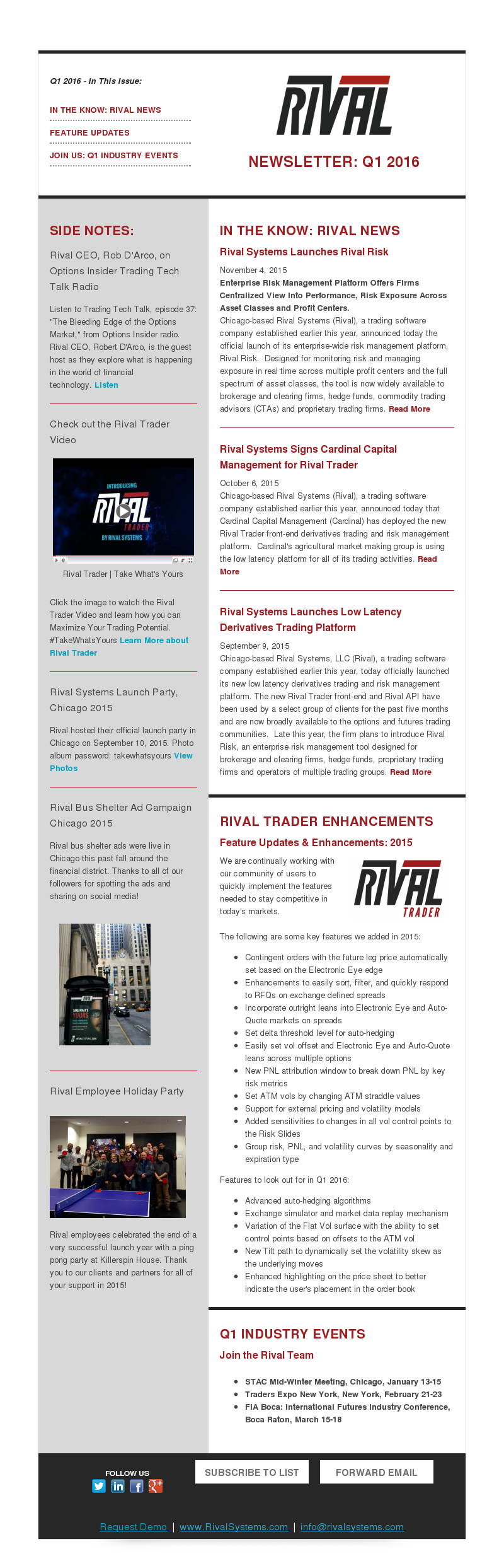 Rival Newsletter Q1 2016