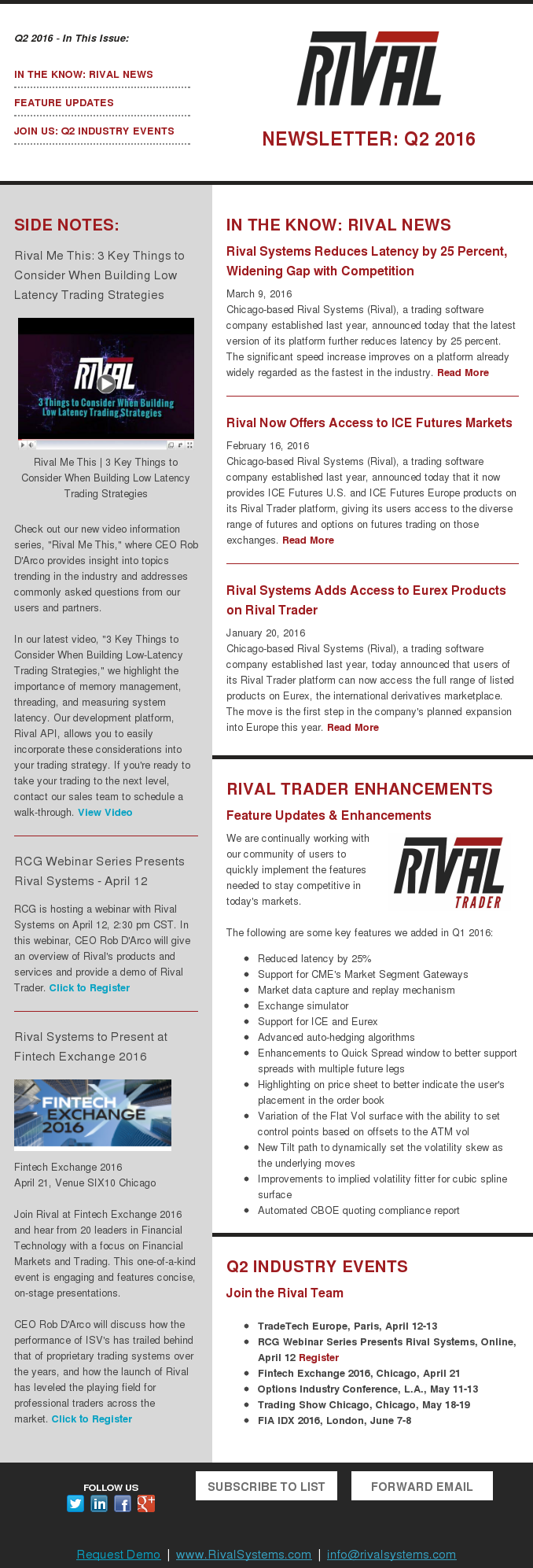 Rival Newsletter Q2 2016